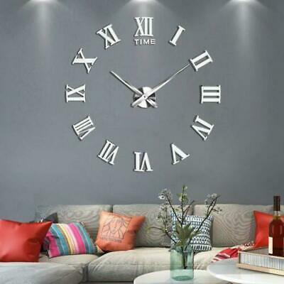 Stick On Wall Clock DIY Large Modern Design Decal 3D Stickers Roman Numerals NEW