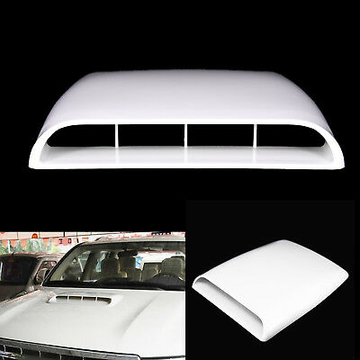 White Universal Auto Decorative Air Flow Intake Hood Scoop Vent Bonnet Cover G4
