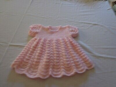 New Hand Knitted Baby Dress, 6-12 Months, Pink Patons 4 Ply