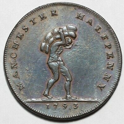 1793 Manchester Great Britain Copper Halfpenny Half Penny Coin Token