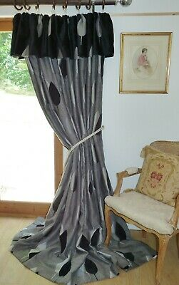 "DESIGNER CURTAINS Lime Leaves HEAVY BOUCLE WEAVE Grey Silver Black Ea 98""W 92""D"