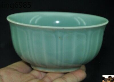 """5"""" Chinese Ancient Song Dynasty Palace Ru Kiln Old porcelain Glaze Tea cup bowl"""