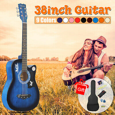 """38"""" 6 String Wood Acoustic Guitar Beginner Gifts with Bag Picks Pitch Pipe"""