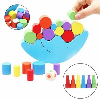 Wooden Montessori Moon Toy Blocks Kids Baby Toys Educational Balance Game GN