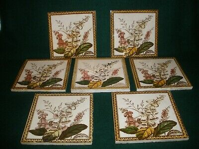 VINTAGE Antique TILES SET OF 7 Fireplace Washstand Made in England GOOD USED