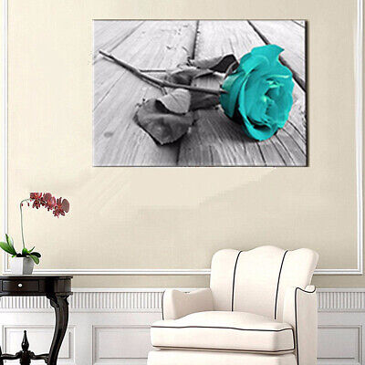 Elegant Teal Blossom Rose Wall Art Picture Flower Floral Painting Home Decor Wor