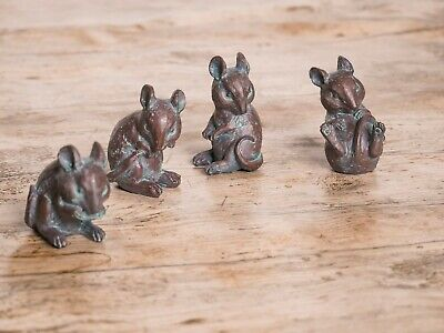 Rustic 4x Mice Statues Outdoor Garden Ornaments Mouse Sculptures Lawn Decor
