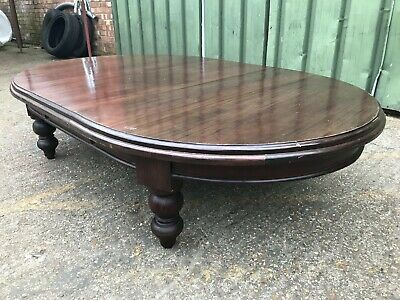 Large antique solid wood extending coffee buffet table converted dining table