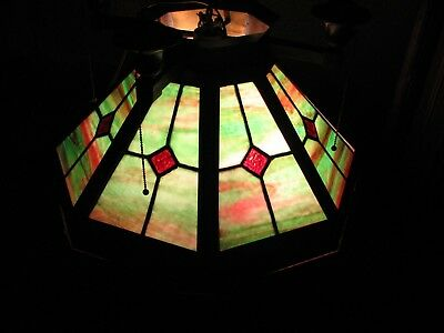Large  Antique Arts & Crafts Brass Leaded Stained Glass Hanging Lamp