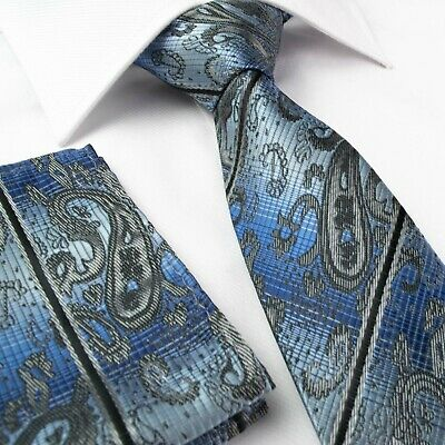 Mens Tie Blue Silver Grey Paisley Jacquard Woven Ties Necktie Wedding Silk p-r11