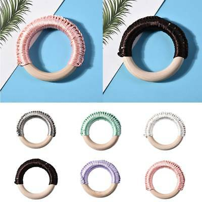 Baby Natural Round Wooden Teething Ring Teether Knitted Toy Wood Jewelry Craft