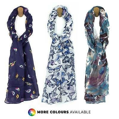 Ladies Womens Patterned Long Chiffon Scarves Butterfly Bird Animal Print Scarfs