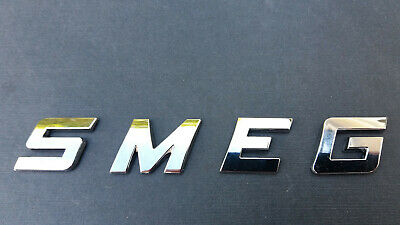 NEW 3D ABS CHROME / SILVER LETTERS SPELLING  SMEG. Correct FONT, Self Adhesive.