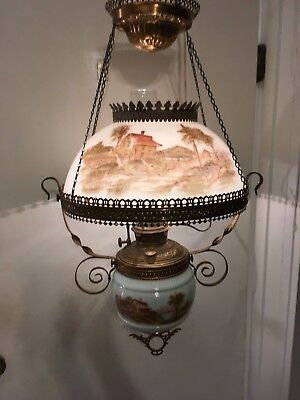Antique Bradley Hubbard Hanging Parlor Lamp Vtg Library Oil Light Fixture Cabin