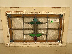 F41659: Original Antique Leaded & Stained Glass Window