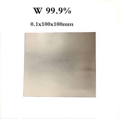 "Tungsten Wolfram W 99.9% Sheet Plate For Electroplating Anode 0.1mm 4x4"" US"