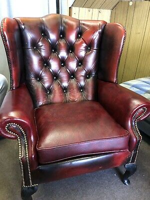 Vintage Queen Anne Chesterfield Chair, Wingback. Oxblood Red