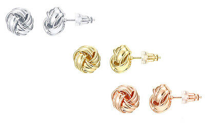 14k Yellow Gold Plated Small Twisted Knot Stud Earrings