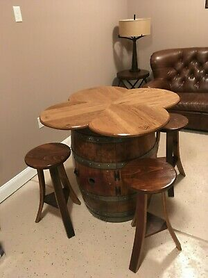 Wine Barrel Table with 4 stools