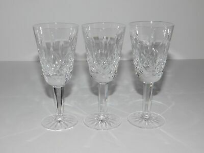 "3 Stamped Waterford Crystal Lismore 5 1/8"" White Wine Glasses Stems"