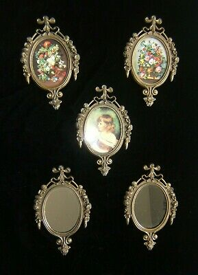 Vintage Small Ornate Oval Brass Picture Frames ~ Made in ITALY ~ Set of 5 ~ NEW
