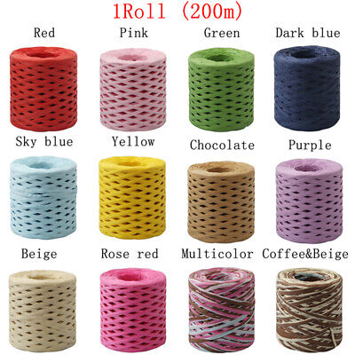 1PC Box Packing Baking Raffia Ribbon Paper Rope Wrapping String Decor Roll 200m