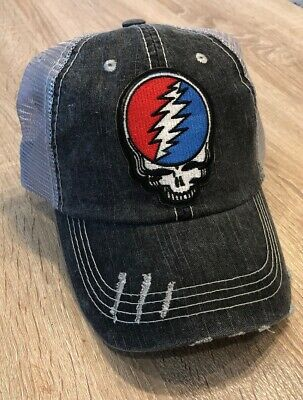 GRATEFUL DEAD Hat Embroidered Skull Patch Rock Distressed Band Punk Cap Music Bl