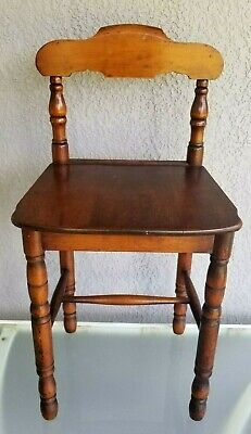 ANTIQUE LOW BACK VANITY CHAIR WOOD CHILD'S SEAT DOLL wooden