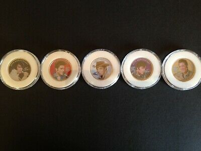 Elvis Quarter Coloured Coins (Five) 2002 25Th Anniversary In Cases
