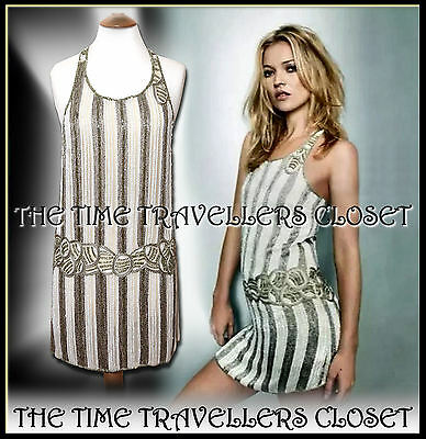 VTG KATE MOSS TOPSHOP 20s FLAPPER DRESS BEADED 30s GATSBY JAZZ AGE ART DECO UK12