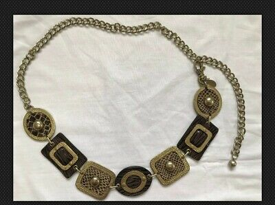 Chico's Women's Chain Link Belt Brass/Gold Tone Metal Animal Print Leather Small