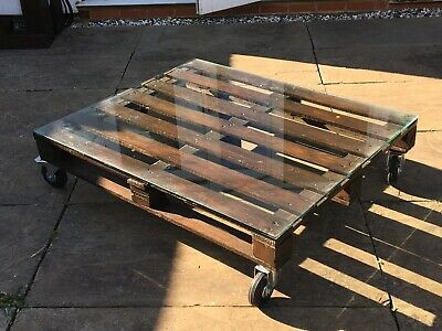 Hand Made Glass Top Pallet Coffee Table. Reclaimed. Upcycled. Shabby Chic