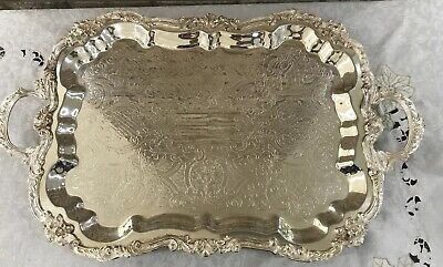 """SHERIDAN SILVER FOOTED BUFFET TRAY BUTLER COCKTAIL SERVING PLATTER Huge 29x17"""""""