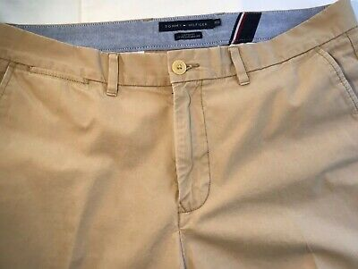 Tommy Hilfiger Mens Khaki Chino Pants 36 X 32 Flat front tailored fit