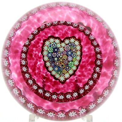 Lovely PERTHSHIRE Pink MILLEFIORI Canes HEART Art Glass PAPERWEIGHT