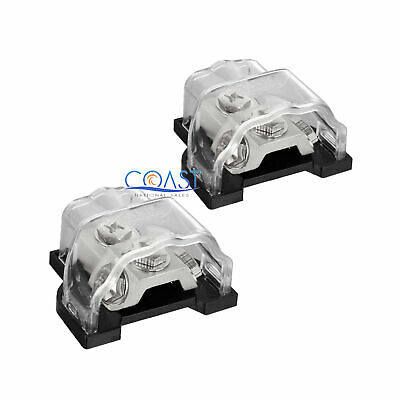 2X Platinum Ground Distribution Block Any Gauge In Out w/ Ring Terminal GDBRP