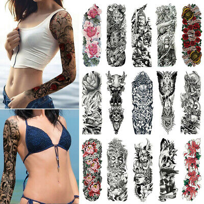 5a1ab0a67 Body Art Waterproof Large Leg Full Arm Tattoo Sleeves Sticker Temporary  Decal