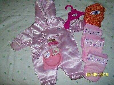 Baby Born Doll Accessories, Romper, Plate, Dummy, 3-Nappies, Coat Hanger, Hat.