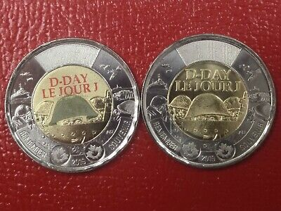 Canada 2019 75th Anniversary of D-Day $2 Tonnie Coloured and Non-Colour Coin Set