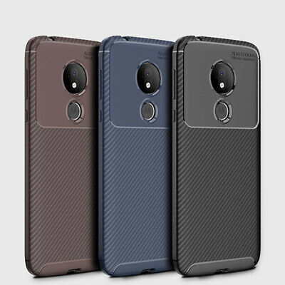 For Motorola Moto G7 Power Z4 Play E5 G6 Slim Carbon Fiber Rubber TPU Case Cover