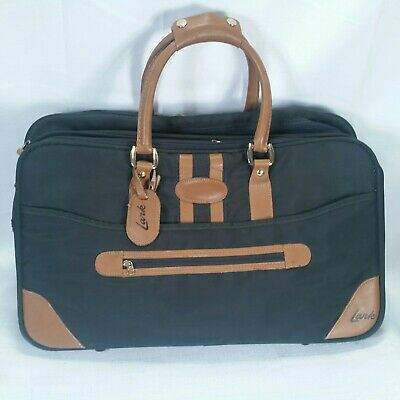 Vintage Authentic Lark Green & Tan Expandable Travel Duffel Carry On Bag Luggage