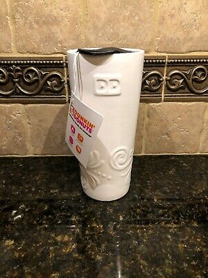 """Dunkin Donuts """"Dd"""" White Ceramic Relief 16 Oz Travel Mug With Lid - Brand New"""
