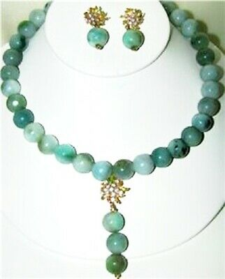 VTG CHINESE NATURAL GREEN JADEITE JADE BEADS NECKLACE 18KT GOLD~EARRINGS 172.3g