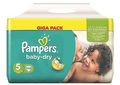Pampers Baby Dry Taille 5 Junior 11-25kg Giga Pack 108