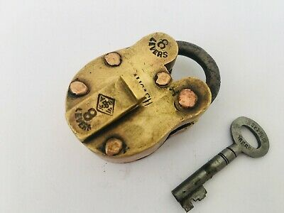 Old Vintage Brass & Copper Pad Lock Solid Heavy Small 8 Lever Aligarh
