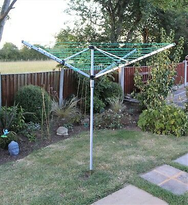 50M Garden 4 Arm Rotary Washing Line Clothes Dryer Airer With Ground Spike