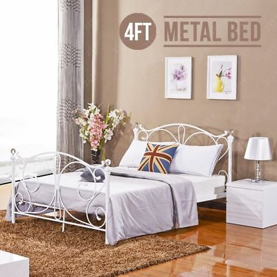 e150a2ce3b6b 4FT Metal Bed Frame Small Double Bedstead Bedroom Bed Frame with Crystal New