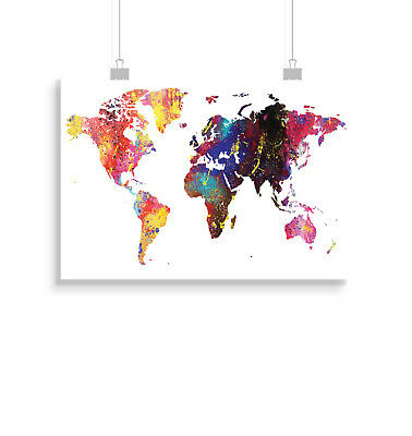 World map watercolour atlas poster print wall art decor merchandise