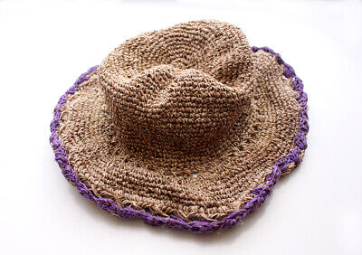 dced7580cac45c Hemp Hat with Purple Lining, Earthy Travel Hat, Hemp Tourist Hat HC003