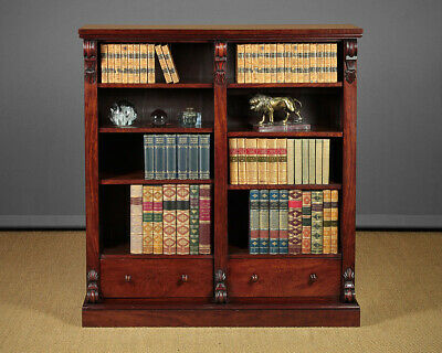 Antique Mahogany Open Bookshelves with Drawers c.1860.
